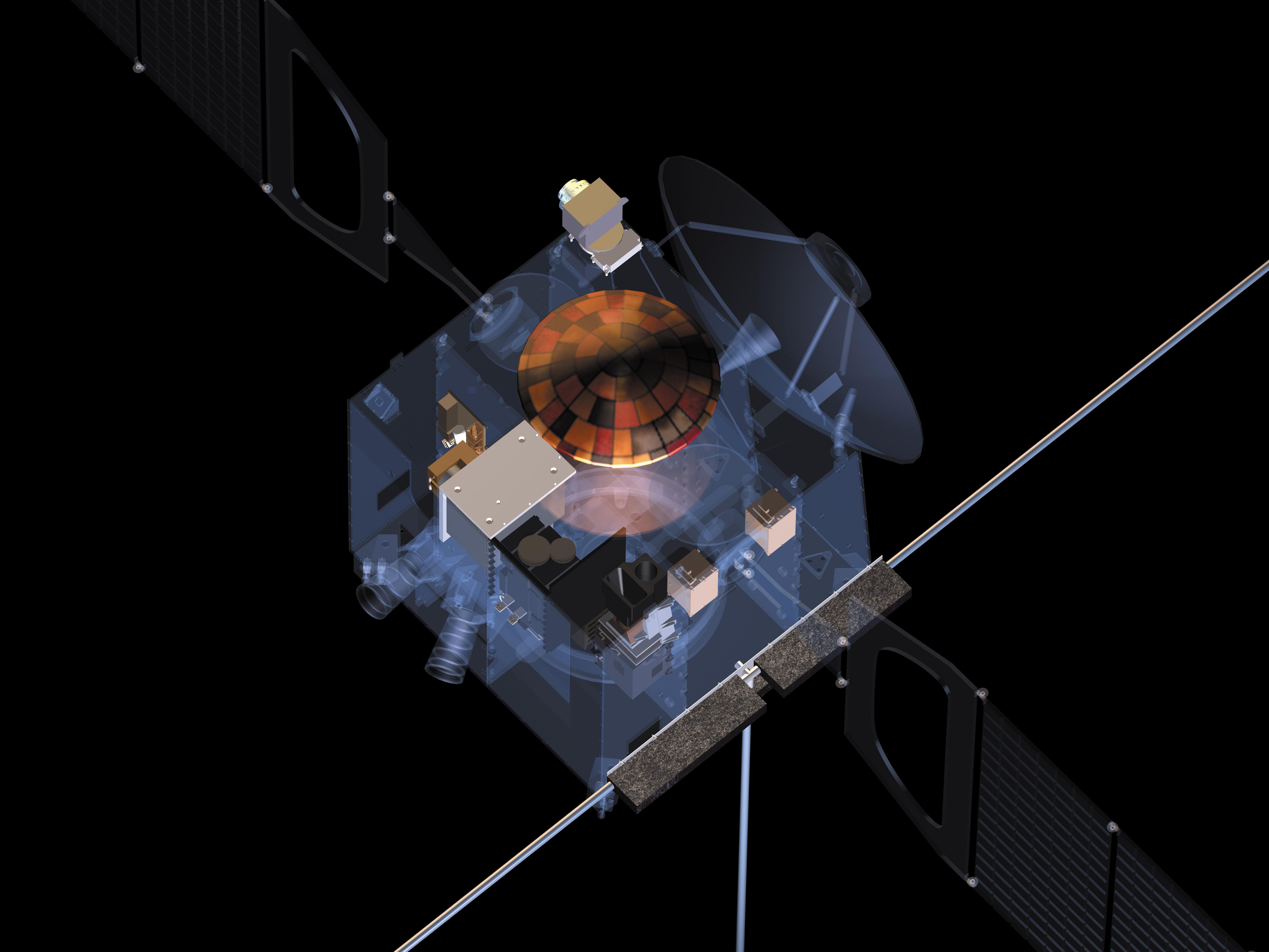 Modello trasparente di Mars Express che illustra la disposizione degli strumenti scientifici. Sul lato superiore è possibile osservare l'antenna per le comunicazioni con la Terra, Beagle 2 e PFS